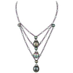 Andreoli Tahitian Pearl Drops Pink Sapphire Diamond Necklace Pearls 18Kt Gold