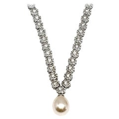 Andreoli Tennis Diamond Freshwater Golden Pearl Pendant 18 Karat White Gold
