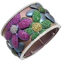 Andreoli Titanium Flower Cuff Bangle Pink Yellow Sapphire Tsavorite Green Garnet
