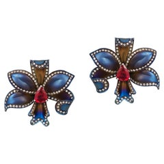 Andreoli Titanium Ruby Diamond Flower Earrings Clip-On Ear