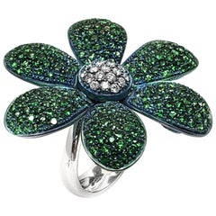 Andreoli Titanium Tsavorite Green Garnet Diamond Flower Cocktail Ring 18 Karat
