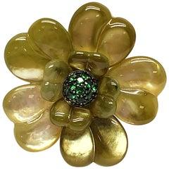 Andreoli Tsavorite Garnet Green Dyed Mother of Pearl Flower Cocktail Ring