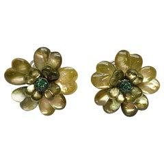 Andreoli Tsavorite Garnet Green Dyed Mother of Pearl Flower Earrings Clip-On