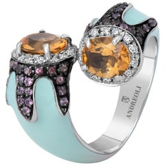 Andreoli Turquoise Enamel Citrine Pink Topaz Diamond Cocktail Ring 18kt Silver