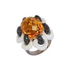 Andreoli White Agate Black Diamond Citrine Flower Moving Petals Ring 18KT Gold