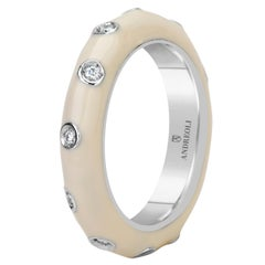 Andreoli White Enamel Diamond Band Ring 18 Karat White Gold