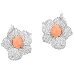 Andreoli White Gold, Diamond and Natural Coral Flower Earrings