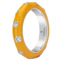 Andreoli Yellow Enamel Diamond Band Ring 18 Karat White Gold