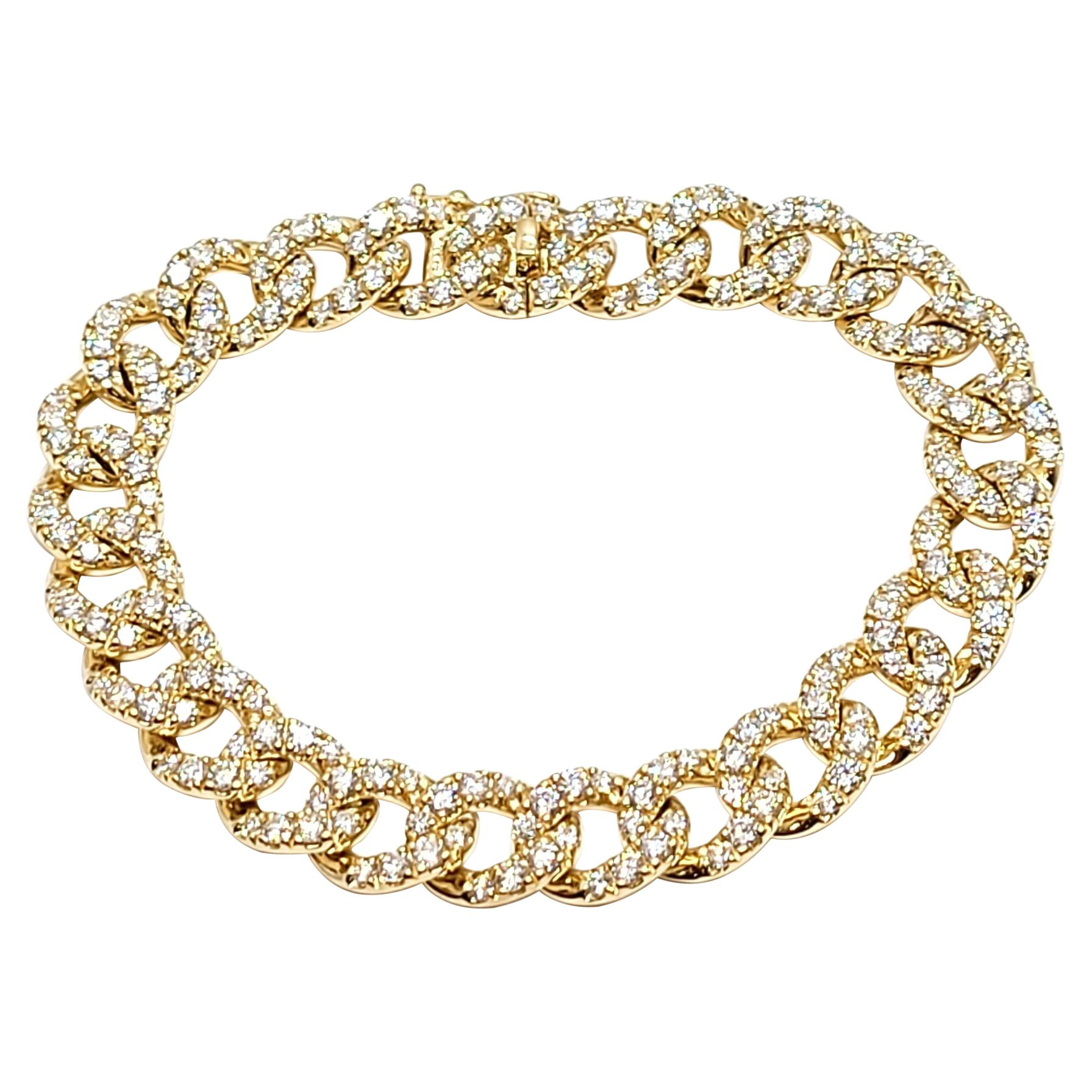 Andreoli Yellow Gold and Diamond Cuban Link Bracelet