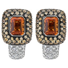 Andreoli Yellow Sapphire Diamond Citrine Clip-On Earrings 18 Karat Gold