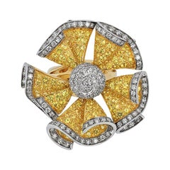 Andreoli Yellow Sapphire Diamond Moving Petals Flower Cocktail Ring 18k Gold