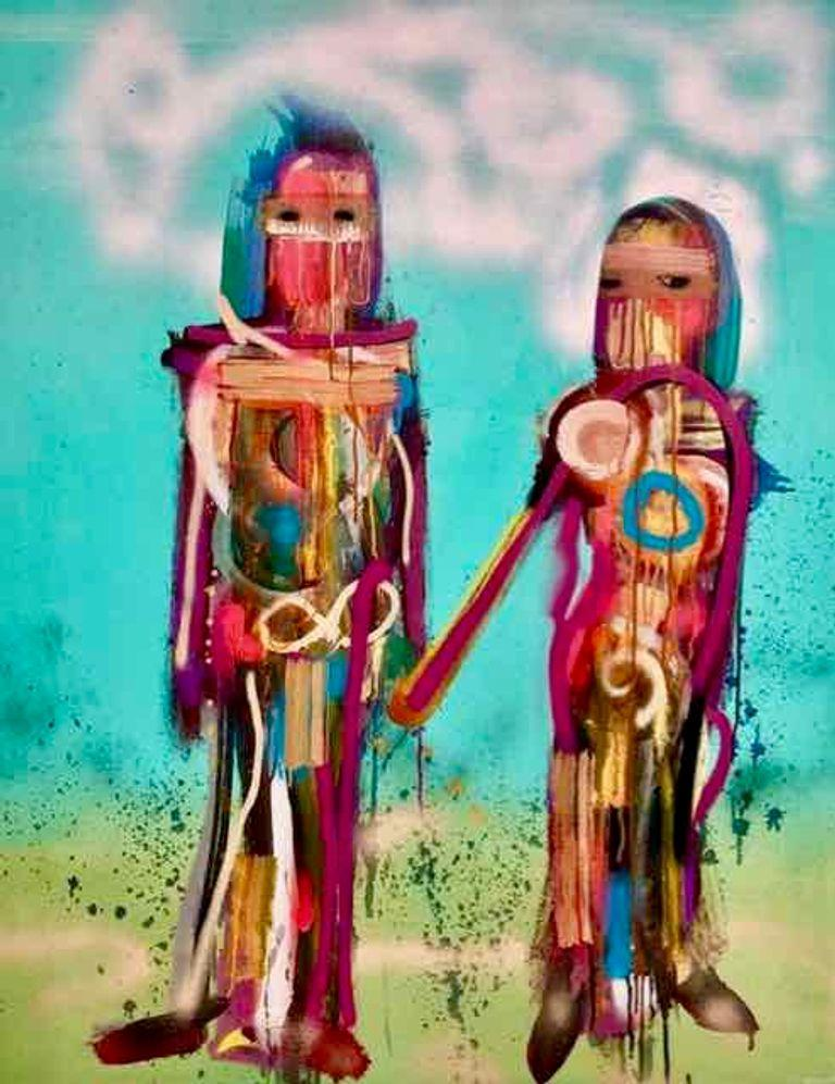 Andrés García-Peña Abstract Painting - Soulmates, Painting on canvas in pastel colors of a couple holding hands