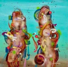 Ying & Yang, Painting of an abstract duo by ANDRÉS GARCÍA-PEÑA