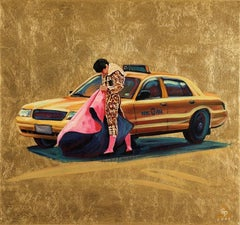 Ole Taxi -Spanish Torero with Gold Leaf Background Baiting a Taxi Cab in NYC