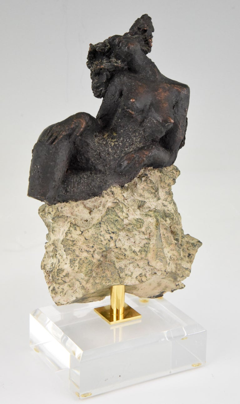 Mid-Century Modern Andres Peralta Sculpture Nude on a Rock 1980 Spain For Sale