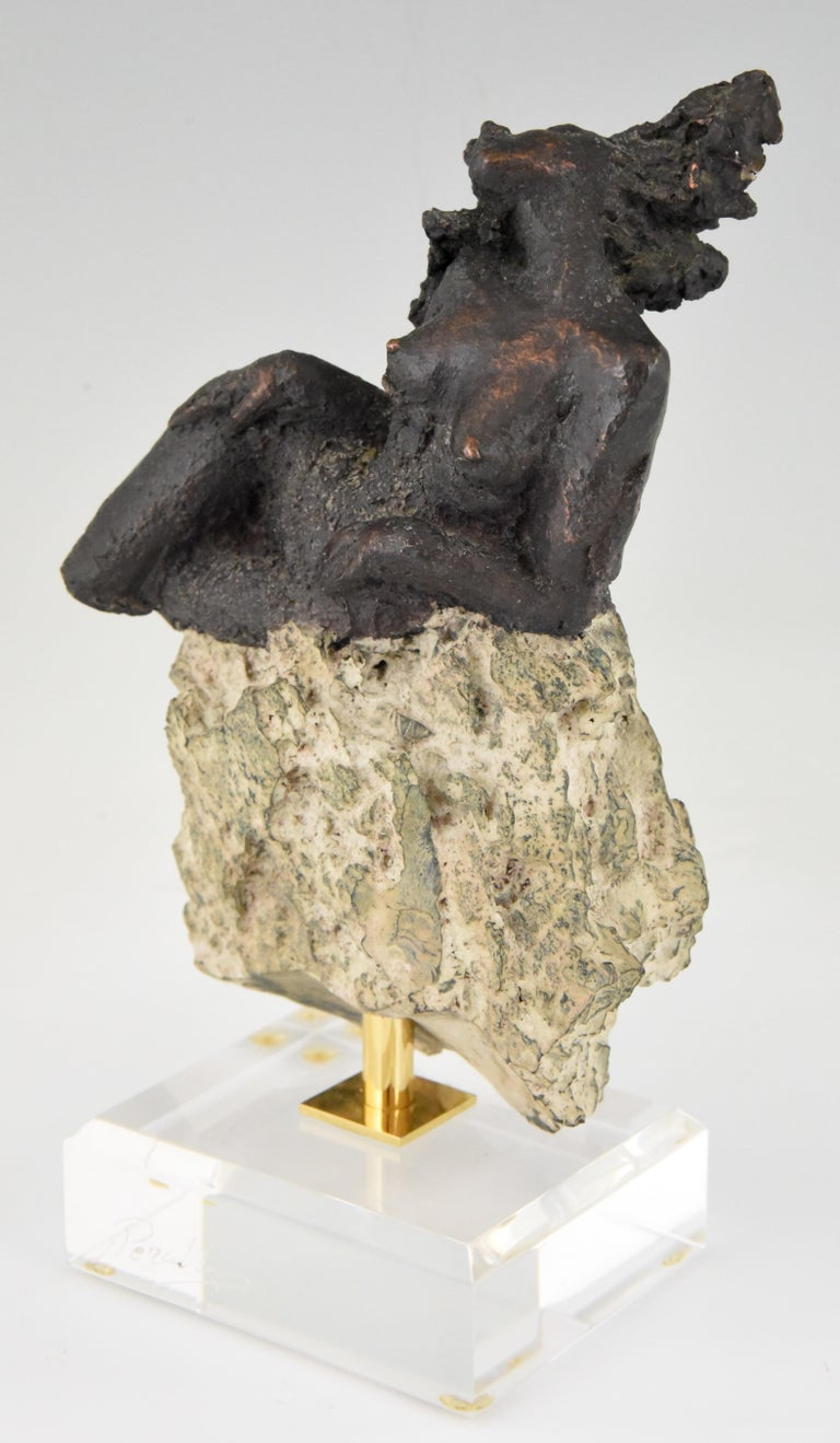 Spanish Andres Peralta Sculpture Nude on a Rock 1980 Spain For Sale