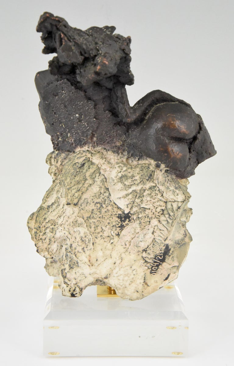 20th Century Andres Peralta Sculpture Nude on a Rock 1980 Spain For Sale