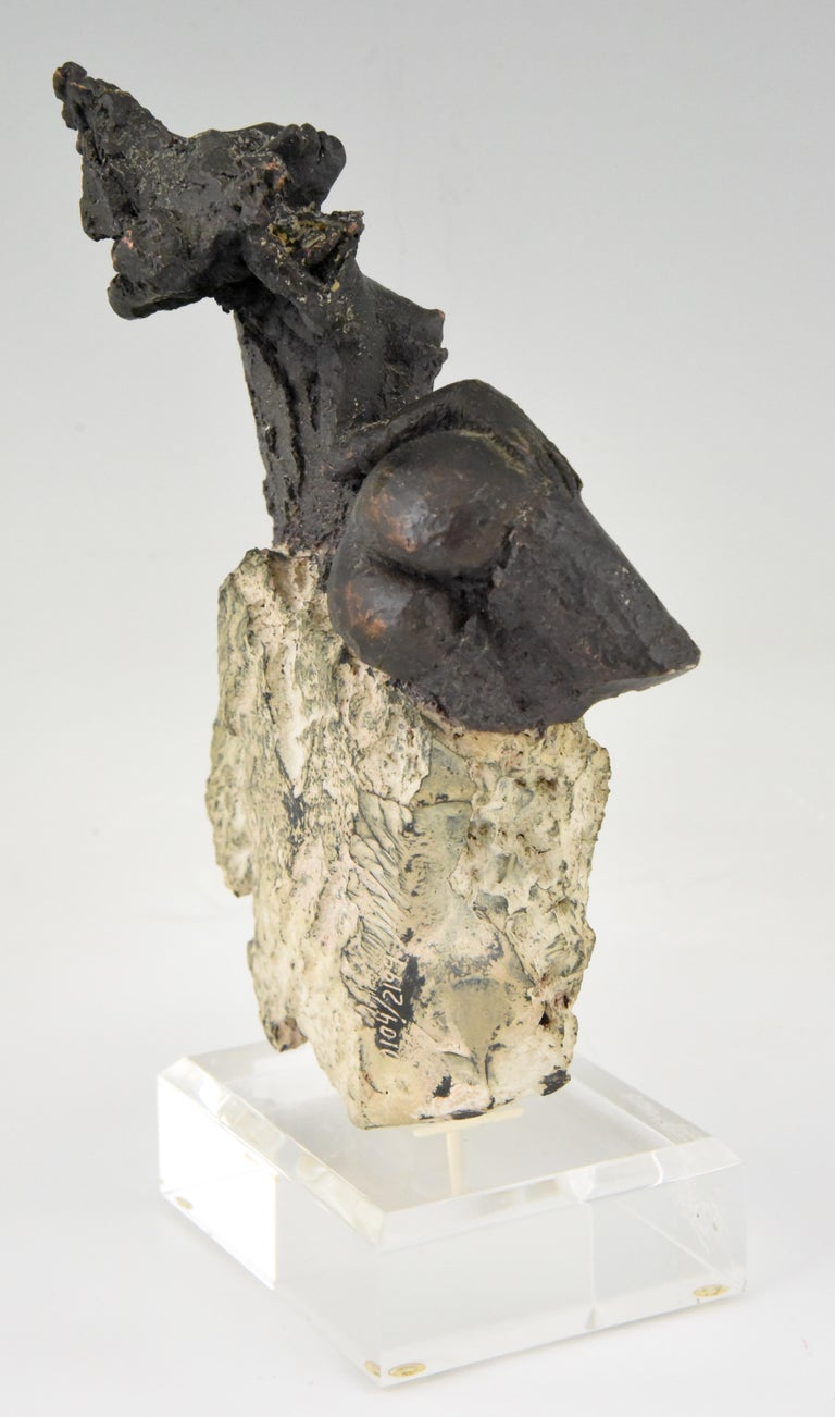 Stoneware Andres Peralta Sculpture Nude on a Rock 1980 Spain For Sale