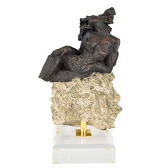 Andres Peralta Sculpture Nude on a Rock 1980 Spain