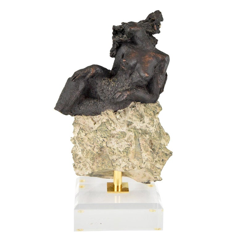 Andres Peralta Sculpture Nude on a Rock 1980 Spain For Sale