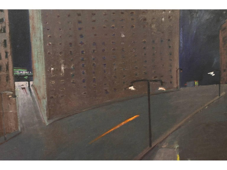 A cityscape at night with high rises above streets illuminated with street lights and a streak of light, with a bus and a van outside a lit doorway. Signed A. Browne, '83 lower left. 