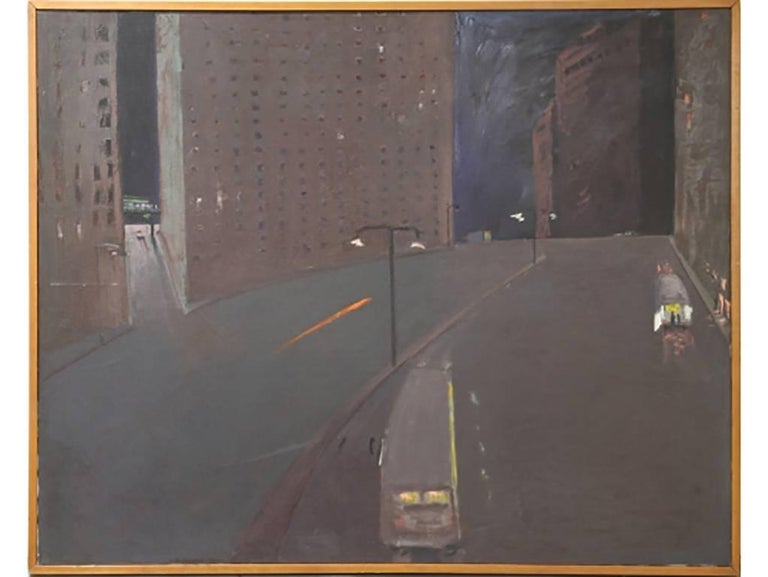 Andrew Browne Massive Oil on Canvas, Cityscape at Night For Sale 2