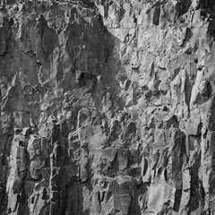 Rockface 25: Square Black & White Photograph of Graphic Jagged Rock Cliff
