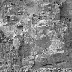 Rockface 27: New Brutalism Black & White Photograph of Graphic Jagged Rock Cliff