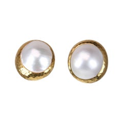 Andrew Clunn 18k Gold Mabe Pearl Clip-On