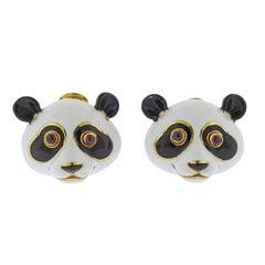 Andrew Clunn Adorable Enamel Ruby Gold Panda Earrings