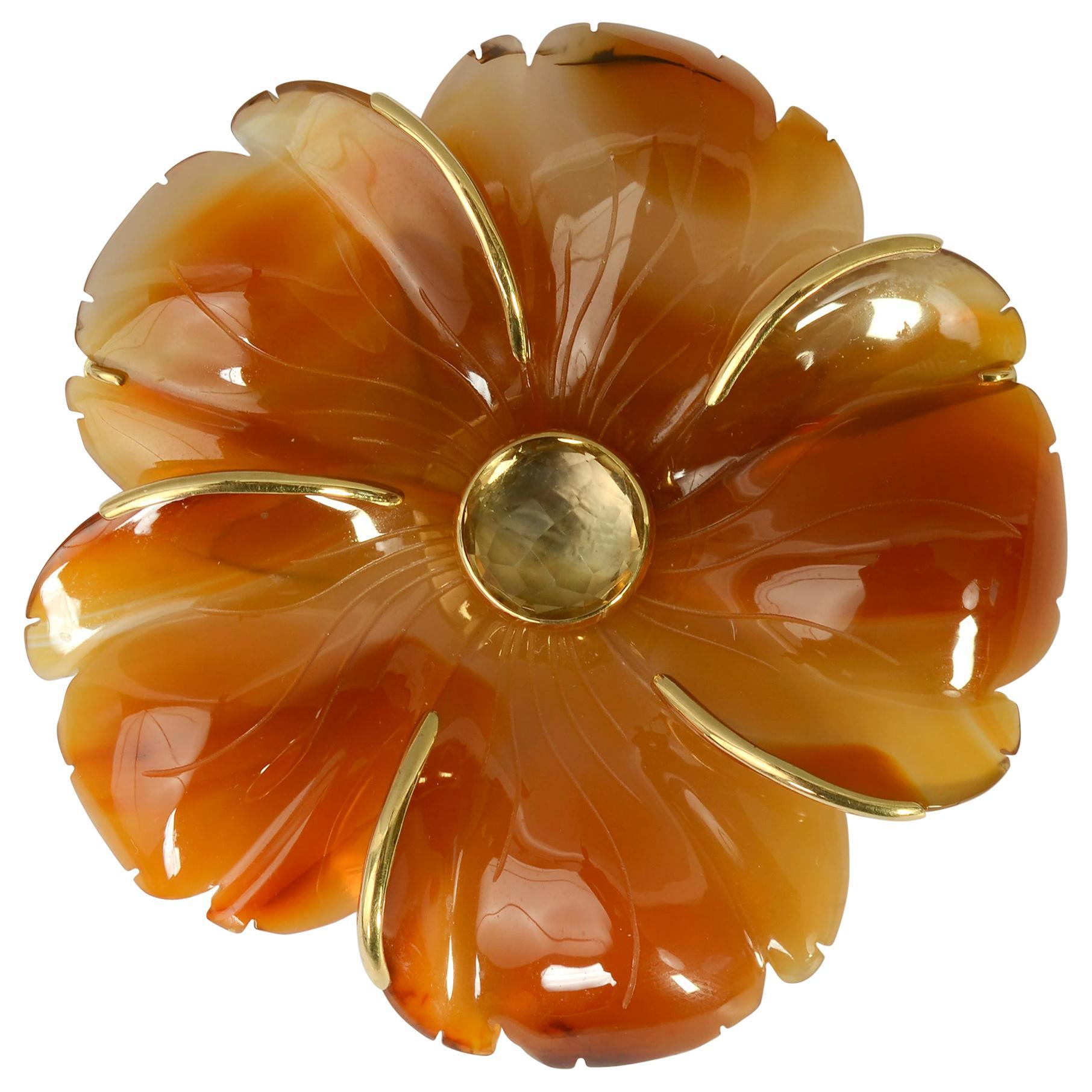 Andrew Clunn Agate Flower Brooch