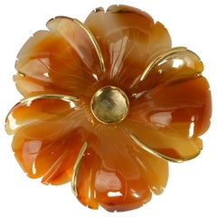 Andrew Clunn Agate Flower Brooch