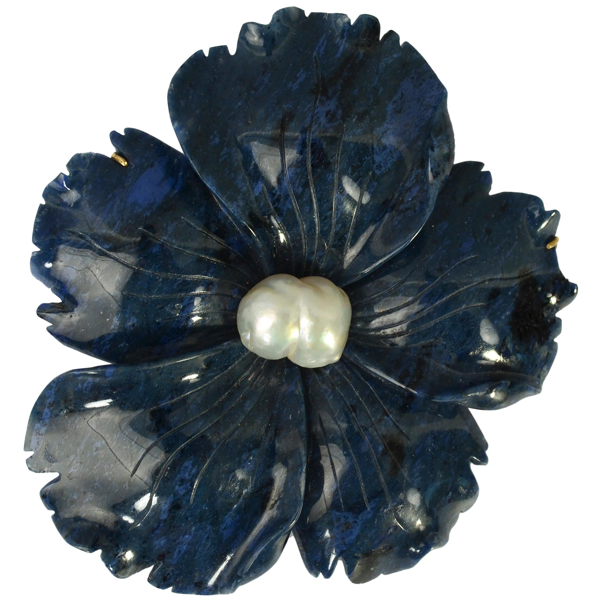 Andrew Clunn Carved Lapis Lazuli Flower Brooch
