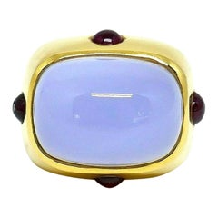 Andrew Clunn Chalcedony Ruby Yellow Gold Ring