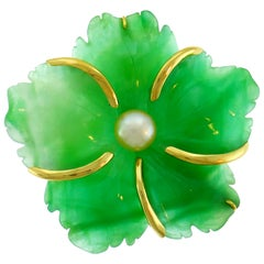 Andrew Clunn Chrysoprase Yellow Gold Pin Brooch Clip with Pearl Accent