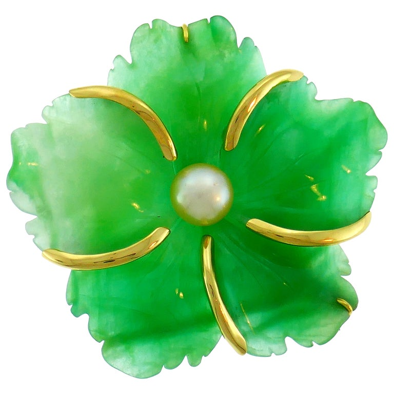Andrew Clunn Chrysoprase Yellow Gold Pin Brooch Clip with Pearl Accent For Sale