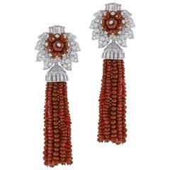 Andrew Clunn Ruby and Diamond Tassel  Drop Earrings