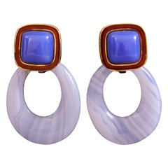 Andrew Clunn Gold Earrings Enamel, Chalcedony, Removable Blue Lace Agate Drops