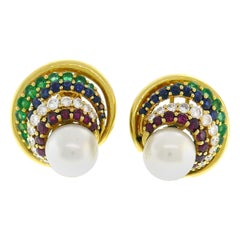 Andrew Clunn Gold Earrings with Pearl Gemstones Clip-On