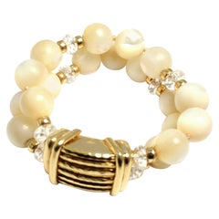 Andrew Clunn Mother of Pearl and Crystal Bead Yellow Gold Bracelet