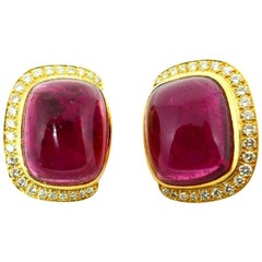 Andrew Clunn Pink Tourmaline Diamond Yellow Gold Earrings