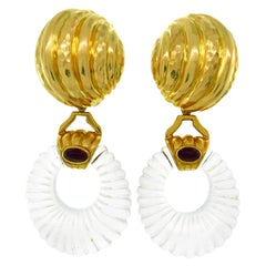 Andrew Clunn Rock Crystal Yellow Gold Earrings with Ruby Accent, Interchangeable