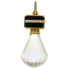 Andrew Clunn Rock Crystal Yellow Gold Pendant with Diamond and Black Onyx