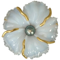 Andrew Clunn White Agate Flower Brooch