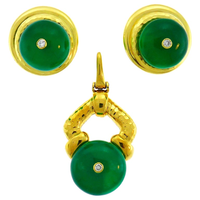Andrew Clunn Yellow Gold Earrings Pendant Set with Chrysoprase Diamond Accents For Sale