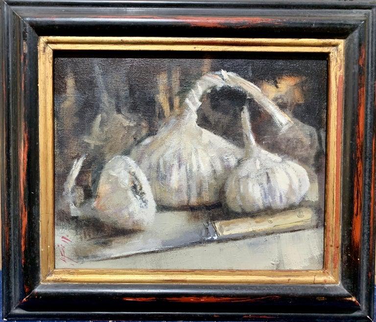 Andrew Davis Still-Life Painting - Modern British, Still life of garlic on a kitchen table in an interior.