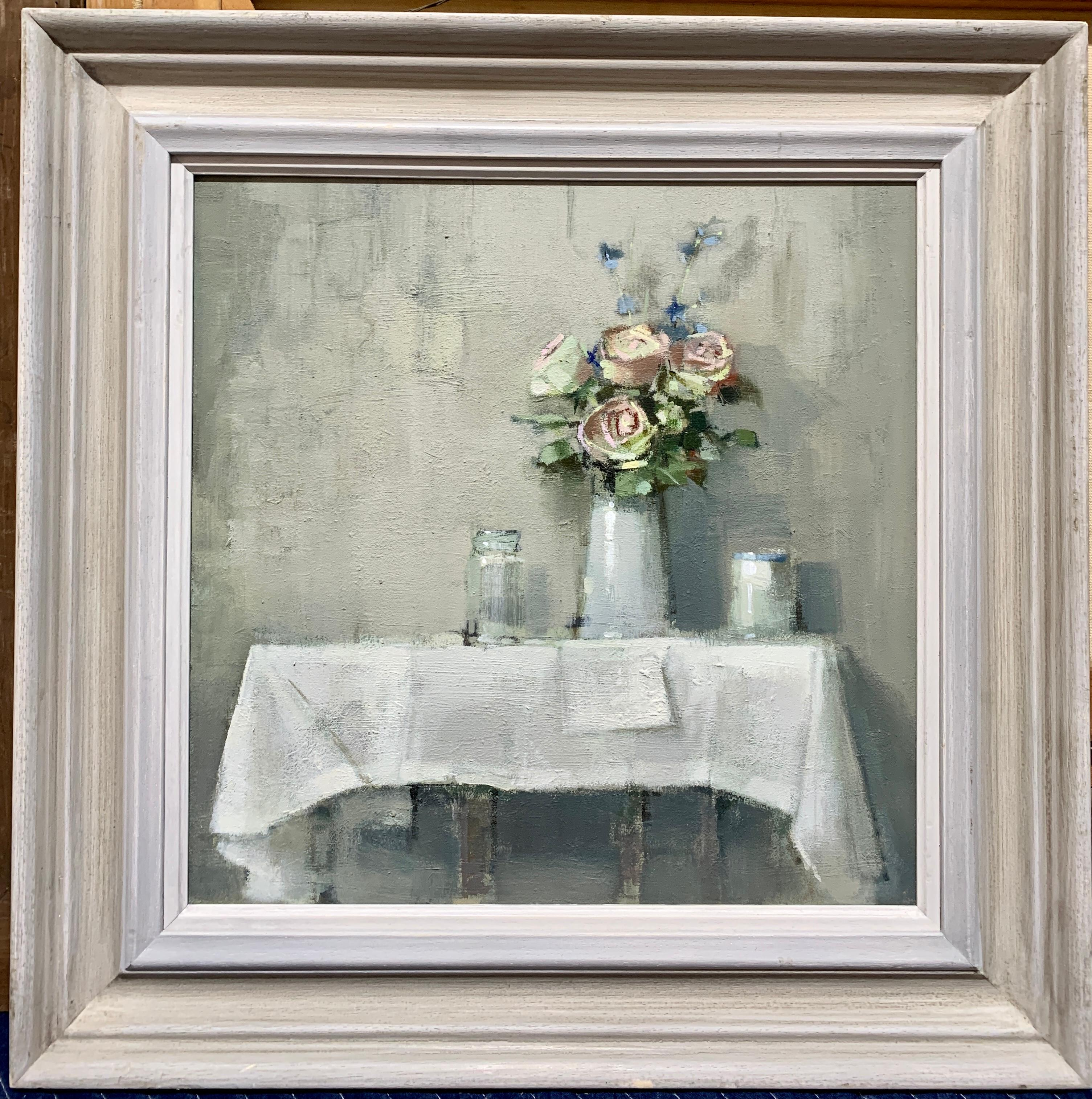 British 20th century White and Pink Roses on a table in an interior still life