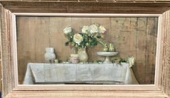 British 20th century White Yellow Roses on a table in an interior still life