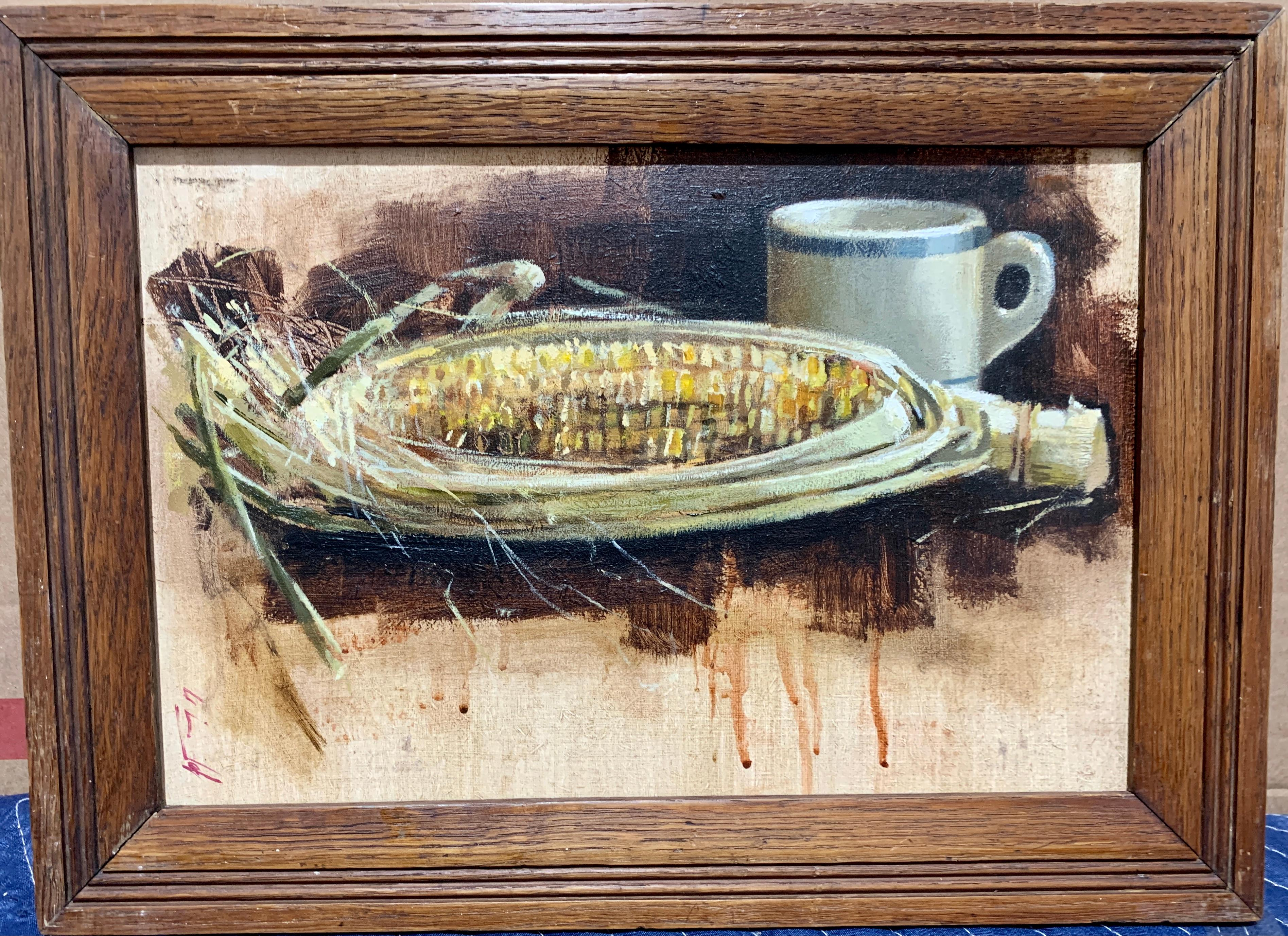 British 20th century,Still life of a Corn cob and cup on a table in an interior