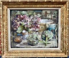 Modern British 20th century still life of a kitchen interior with artichoke etc